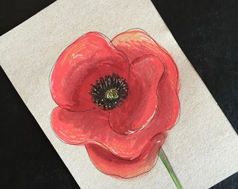 Postcard / greeting card / Upcycled / handmade / poppy