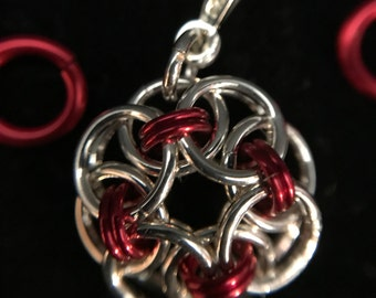 Sparkling Silver and Red Pendant