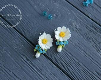 chamomile earrings, daisy earrings, flower earrings, forget-me-not earrings, bride jewelry, flower jewelry, bridesmaid, cold porcelain, clay