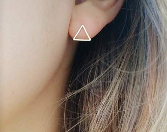 Triangle Earrings | simple stud earrings, simple silver triangle earrings, simple gold earrings, Minimalist Earrings, geometric earring stud