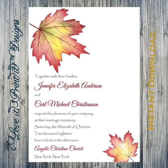 Fall Wedding Invitation Template Fall Maple Leaf Editable &