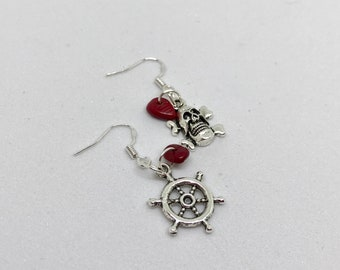 Pirate mismatch red coral earrings