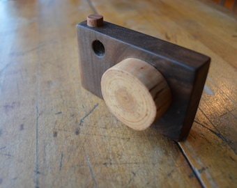 Wooden Camera Toy - Walnut - Birch - Lazy Dog Woodshop