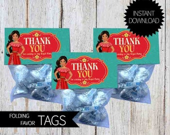 Elena of Avalor Birthday Party PRINTABLE Folding Treat Bag Tags- Instant Download   Disney Elena  Princess Elena of Avalor