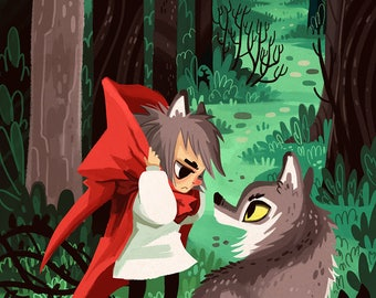 Little Red Werewolf 8x12 art print