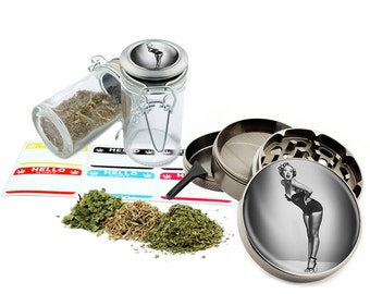 "Marilyn Monroe - 2.5"" Zinc Alloy Grinder & 75ml Locking Top Glass Jar Combo Gift Set Item # 50G012516-11"
