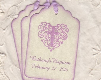 Baptism Tags For Girl, Baptism Christening  First Holy Communion Favor Tags, Personalized Lavender Tags - Vintage Style Set Of 20