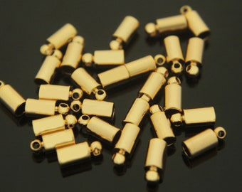 End cap, J7-G5, Nickel free, 20 pcs, 3.5x8mm, Inner 2.5mm, Cord end, 16K gold plated brass, Cord clasp, Necklace end, Crimp, Clasp, Cord cap