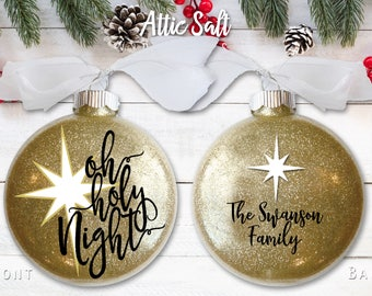 Personalized Christmas Ornament, Oh Holy Night, Religious, North Star