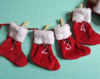 Mini Stockings Advent Calendar Garland ~ Red With White Trim ~ Mini Clothespins ~ Super Cute!
