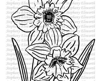 Spring Flowers Set of Four Digital Stamps Line Art