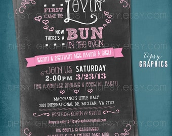 Chalkboard Bun in the Oven Baby Shower Invite. First Came the Lovin Invitation by Tipsy Graphics. Black Pink. Any colors