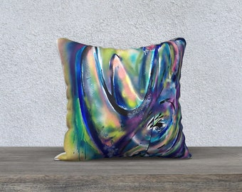 CUSHION Pillow Cover rhino nabz painting graff reproduction art deco modern living room watercolor