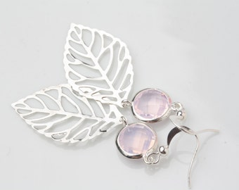 Silver Leaf Earrings, Silver and Pink filigree leaf earrings, pink crystal earrings, bridesmaid earrings, bridesmaid gift, wedding favors