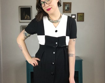 Vintage Black and White Tiered Dress
