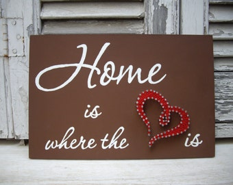 Handmade String Art, Nail Art Sign, Home is where the heart is. Wall Decoration