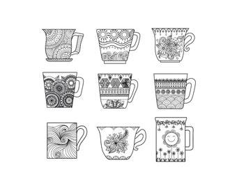 Coffee mugs Zentangle digital art colouring sheet
