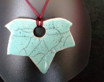 raku turquoise leaf pendant