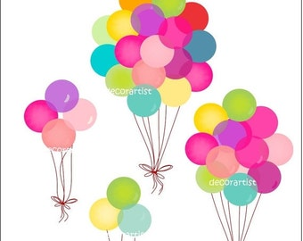 ON SALE balloons clipart , digital clip art , party balloons clip art,Balloons 2 , INSTANT Download