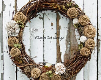 SOLD Grapevine Wreath with Burlap and Fabric Roses, Spring/Summer Wreath