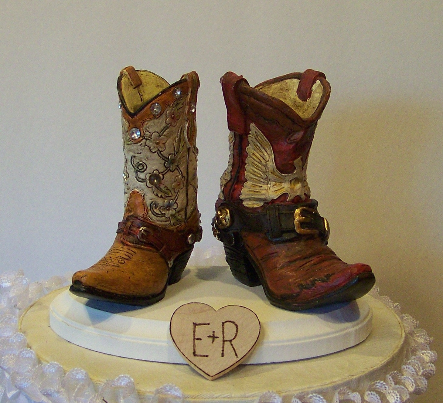 Wedding Cake Topper His And Her Western Cowboy Boots