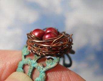 Poppy nest ring with freshwater pearls adjustable verdigris filigree
