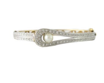 Vintage 14K Gold Diamond & Cultured Pearl Bangle Bracelet