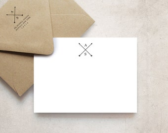 Crossed Arrows Monogram Note Cards, Personalized Stationery