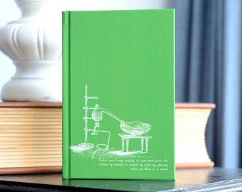 """SALE! One """"Vintage Science Experiments"""" Notebook -Green Nitric Acid Experiment 1888 Textbook Illustrations   Chemistry Teacher Scientist"""