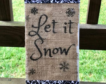 Burlap Snow Sign