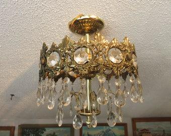 Vintage Hollywood Regency Glam Mid Century Crystal Ceiling Light Chandelier Lamp Fixture