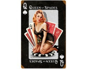 Vintage steel sign, Queen of Spades, pin up girl, garage decor, man cave, bar decor, garage art
