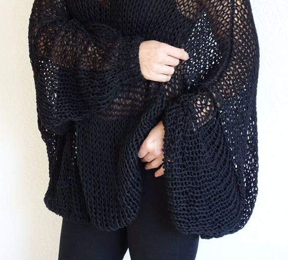 Sweater Sweater Hand Oversized Made Sweater Knit Order Women Slouchy Knitted Knit Sweater Oversized Black To Loose Plus Size Tunic Loose RIq77