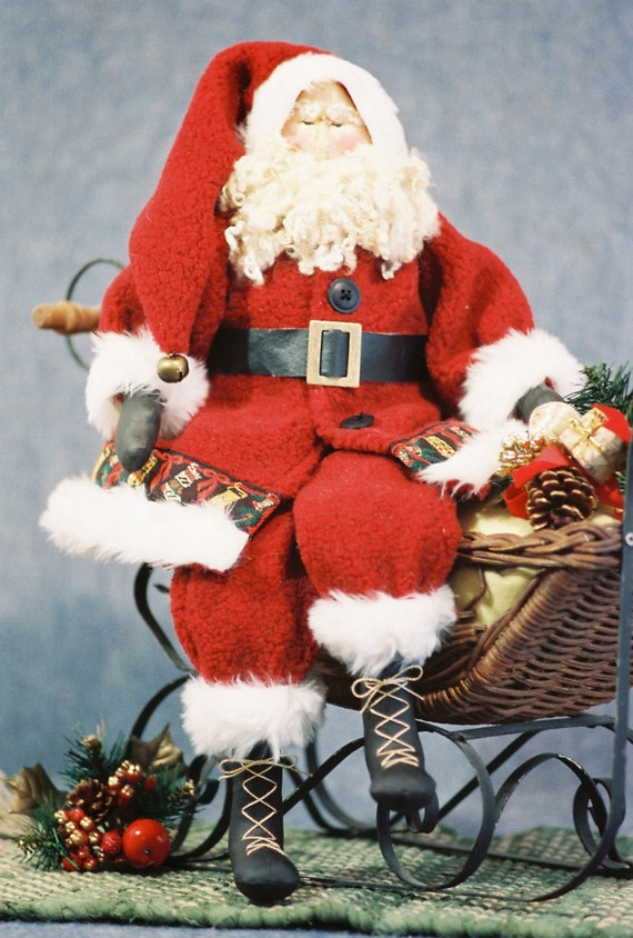 Old St. Nick - Cloth Doll E-Pattern - 22 in Traditional Christmas Santa epattern