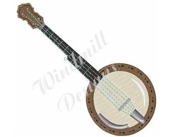 Musical Banjo - Machine Embroidery Design