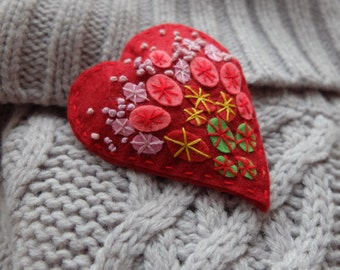 Felt Brooch, Red heart pin, Hand embroidery, Heart brooch, Hand Embroidery, Easter jewelry, Gift for women,Valentines day gift,Heart for her