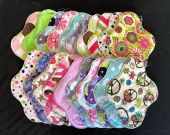 20-pack cloth pad making kit, unfinished, regular length medium flow, colors/patterns will vary