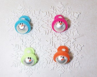 Set of 4 Glass ball snowman ornaments with glittered snowflakes
