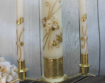 FAST SHIPPING!! Beautiful Gold Unity Candle Set with Gold Base Included in a Gorgeous Deluxe Box. Introductory Price until July 15th.