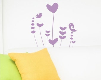 Nursery Whimsical Flower Garden Wall Decal - Vinyl Wall Stickers Art Graphics Custom Home Decor
