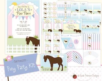 Custom Pony Birthday Party Printables Package