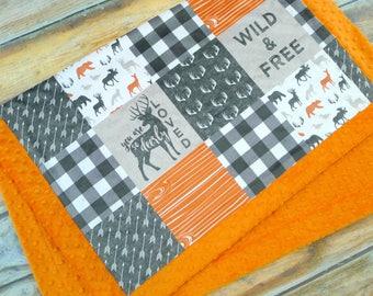 Little Man Minky Blanket - Deer Blanket - Minky Blanket - Faux Quilt - Designer Minky - Orange and Gray- Woodland Baby Blanket- Baby Blanket