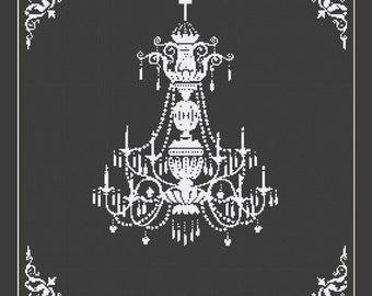 Crystal Chandelier Silhouette Cross Stitch Pattern in PDF for Instant Download