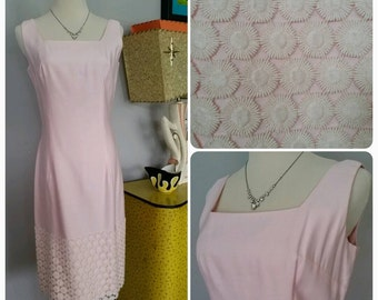 Vintage 60s 1960s soft pink shift dress embroidered flowers