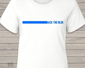 Back the Blue women's crew neck or vneck shirt - support law enforcement and police lives MPOL1-001-L