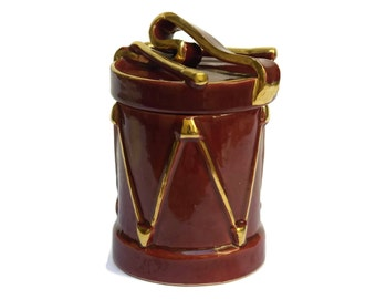 French Vintage Marching Drum Lidded Pottery Jar. Mid Century Ceramic Canister Desk Accessories.