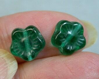 Vintage German Teal Green Pressed GLASS FLOWER Beads 10mm pkg2 gl782