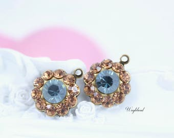 Colorado Topaz & Aquamarine Satin Swarovski Rhinestone Flower Earring Drops 13mm - 2 .