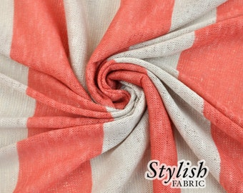 Coral Mocha Brulle Stripes Sweater Knit Fabric - 1 Yard Style 6017