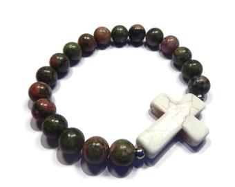 Southwest - Green/Beige Bracelet - Unakite Gemstone Stretch Stacking with Gemstone Cross - Olive/Ochre/White/Silver - Mishimon Designs
